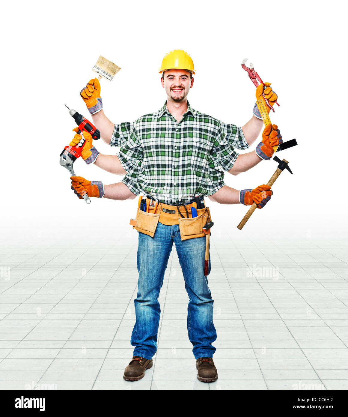 handyman with six arms ready for work Stock Photo