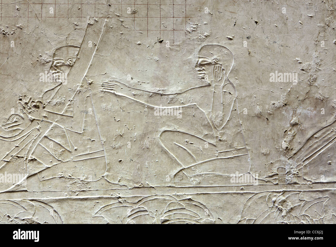 Reliefs in the Middle Kingdom tomb of Ukh Hotep Son of Senbi at Meir , North West of Asyut in Middle Egypt - Stock Image