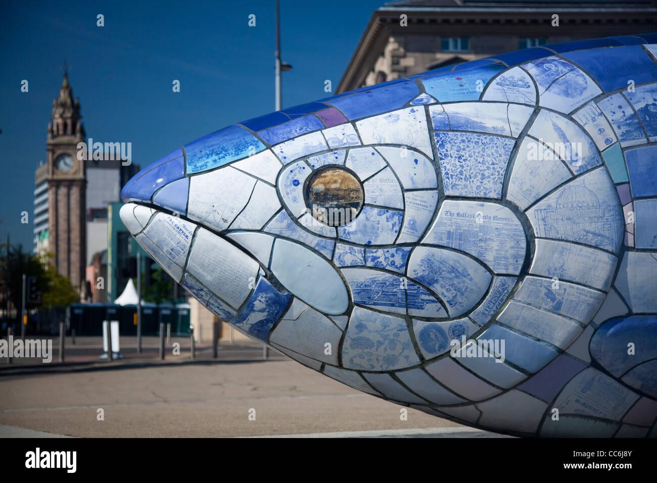 'The Big Fish' salmon sculpture by John Kindness, Belfast Waterfront, Belfast, County Antrim, Northern Ireland. - Stock Image