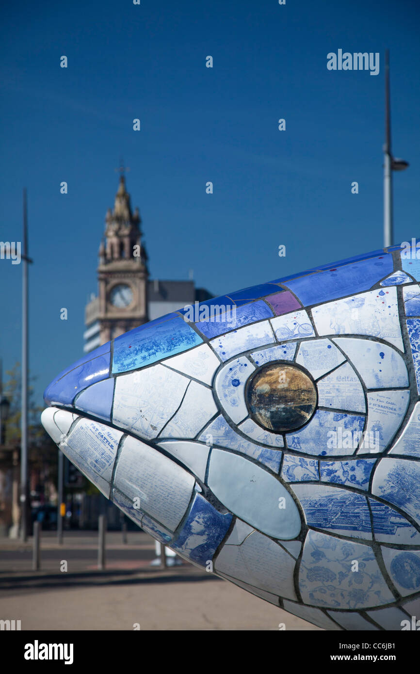'The Big Fish' salmon sculpture by John Kindness, Belfast Waterfront, Belfast, County Antrim, Northern Ireland. - Stock Image