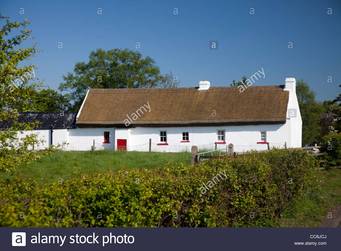 Traditional thatched Irish cottage, The Birches, County Armagh, Northern Ireland. - Stock Image