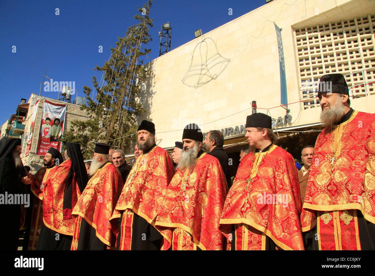 Greek Orthodox Christmas.Bethlehem Greek Orthodox Christmas Ceremony In Manger