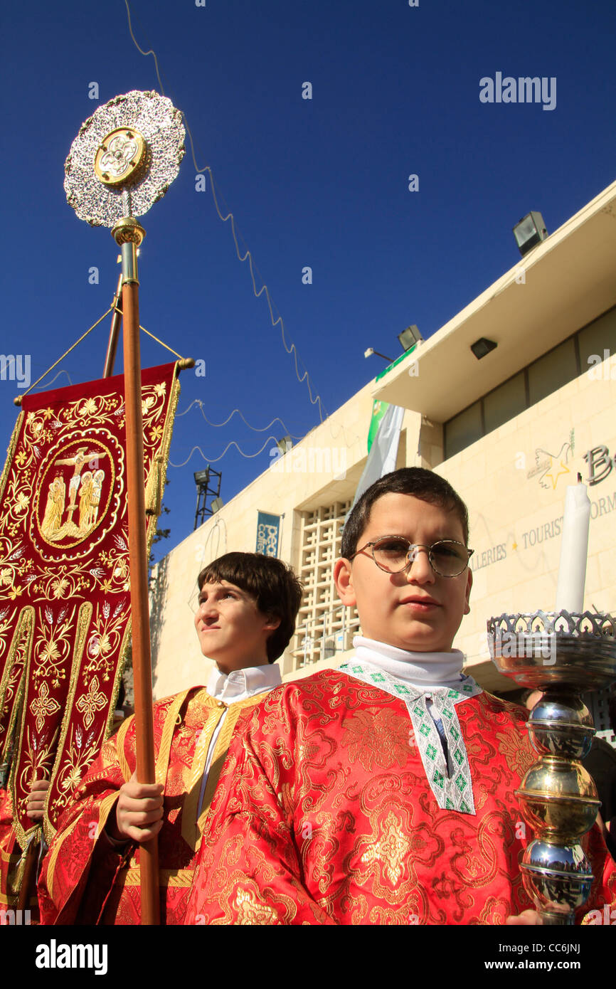 bethlehem greek orthodox christmas ceremony in manger square stock image