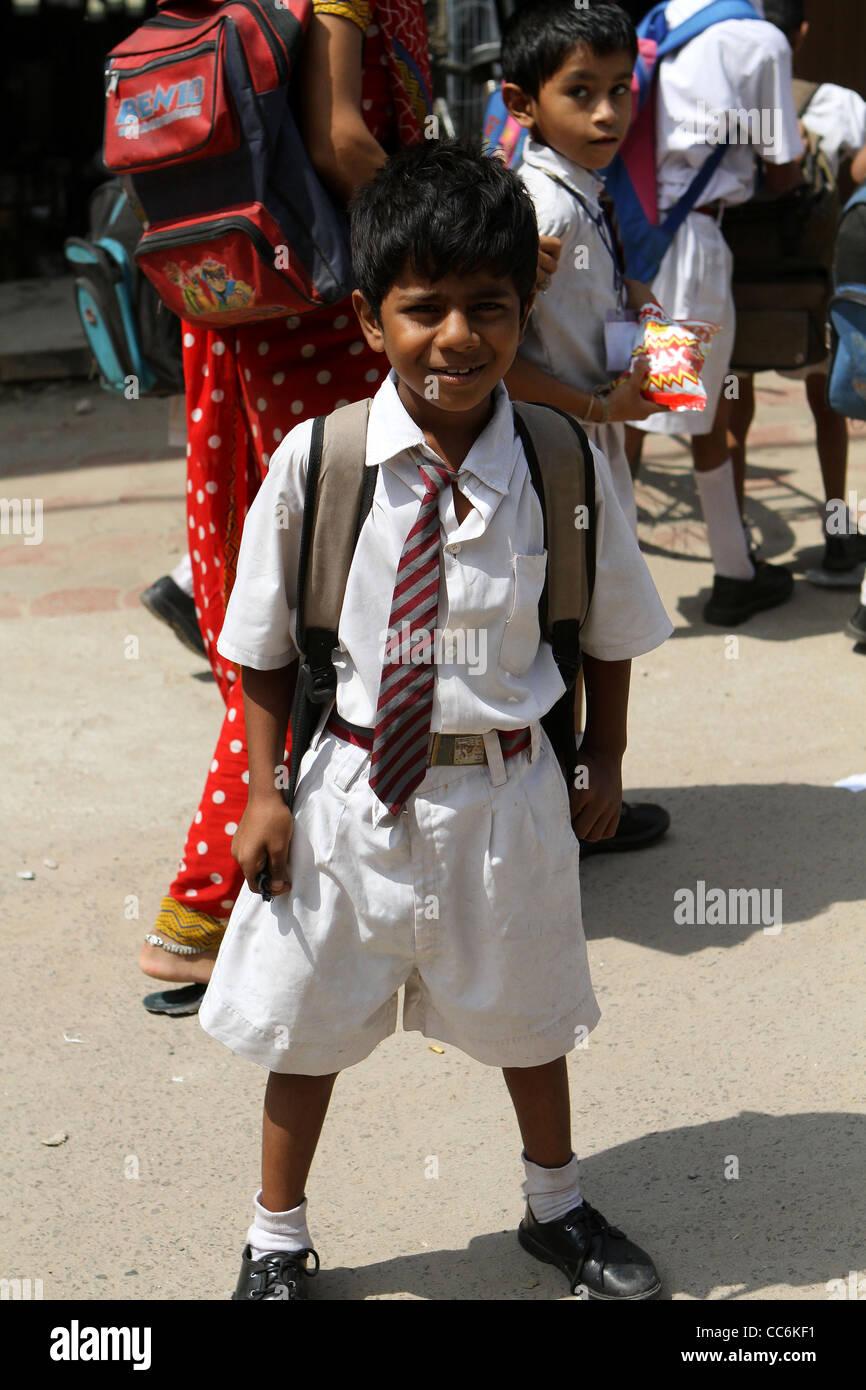 Indian schoolboy in uniform . Delhi. India - Stock Image