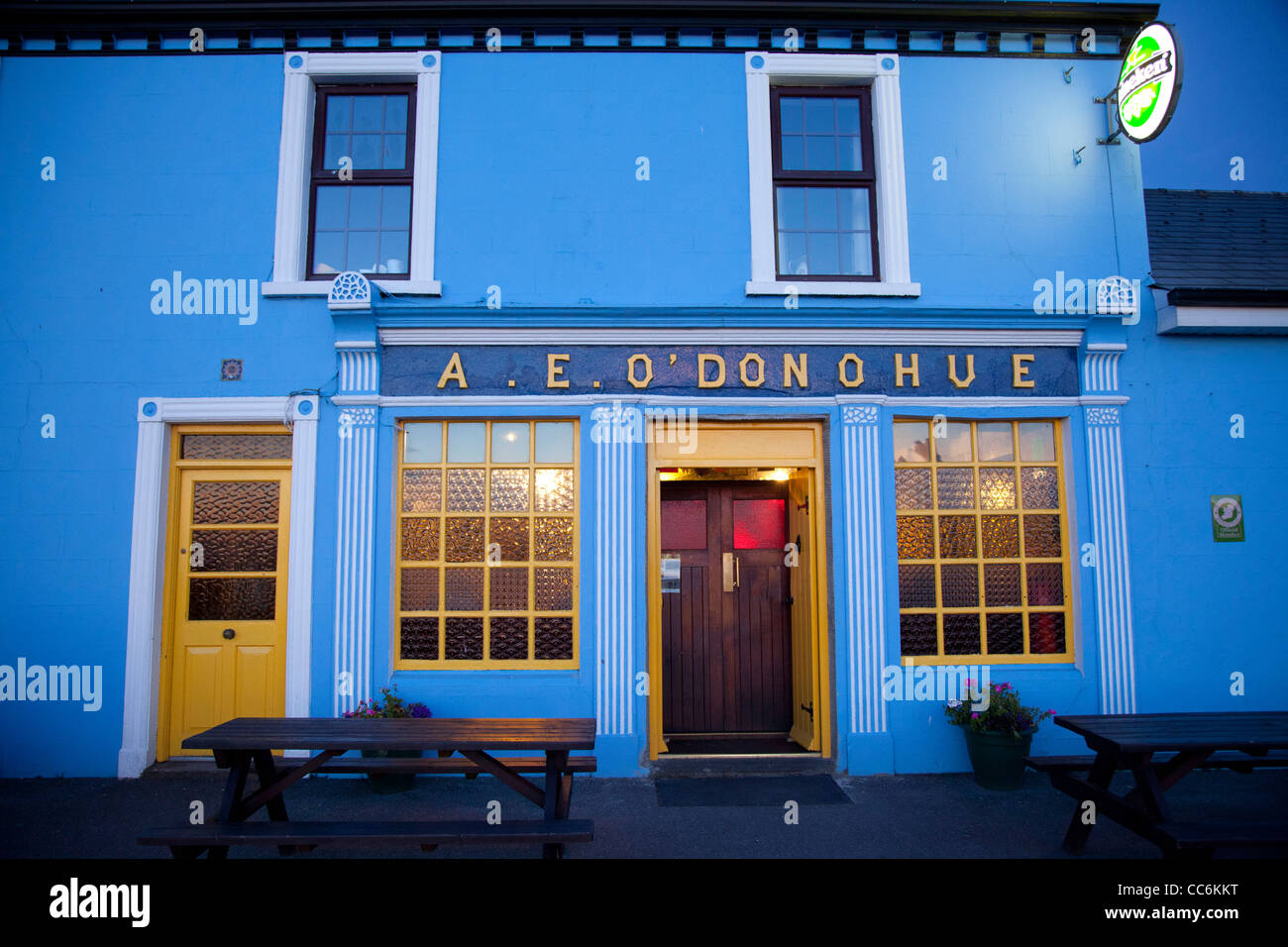 Colorful facade of O'Donohue's pub, Fanore, County Clare, Ireland. - Stock Image