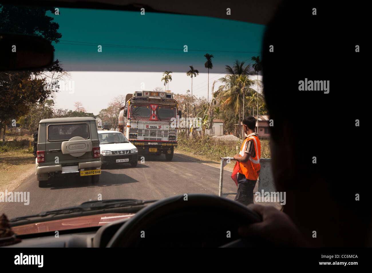 India, Assam, Balipari bad driving, traffic chaos on roads due to untrained drivers - Stock Image