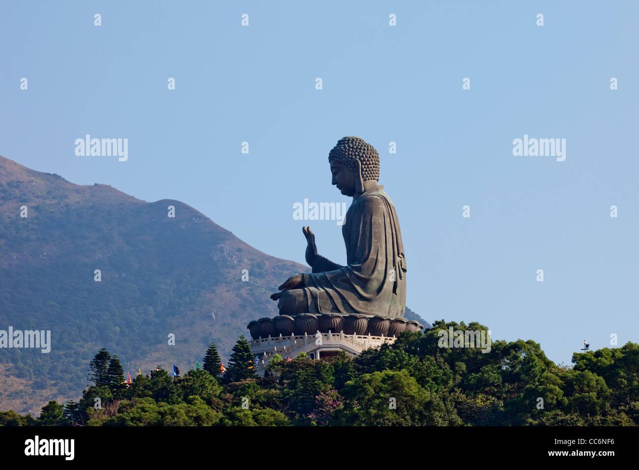 China, Hong Kong, Lantau, Po Lin Monastery, Giant Buddha Statue - Stock Image
