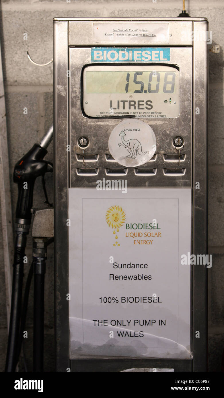 A pump used for dispensing biodiesel at the Sundance Renewables depot in Cross Hands, Carmarthenshire Wales. - Stock Image