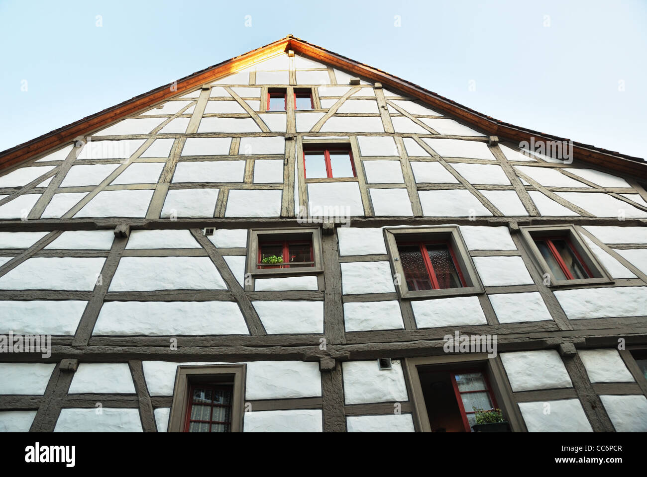 Ancient wall of fachwerk house. - Stock Image