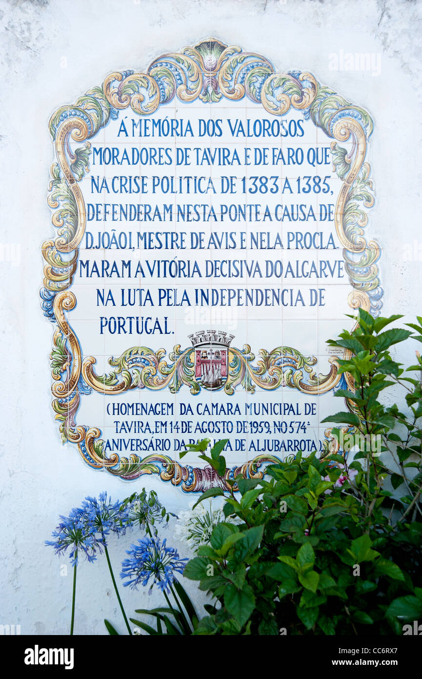 Azulejos, tiles, in the town of Tavira, eastern Algarve, Portugal, Europe. - Stock Image