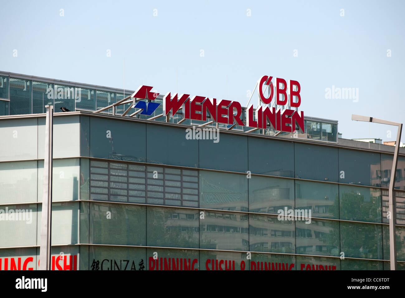Österreich, Wien II, Praterstern, ÖBB, Wiener Linien, Bahnhofsgebäude. - Stock Image