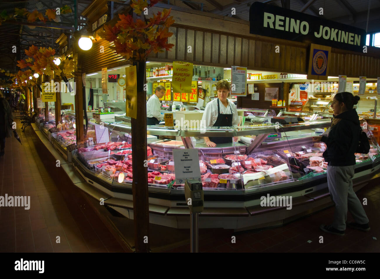Meat counter Kauppahalli the market hall Turku Finland Europe - Stock Image