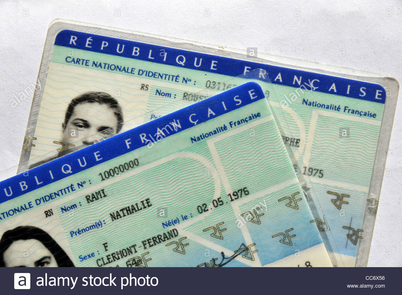 French identity cards - Stock Image