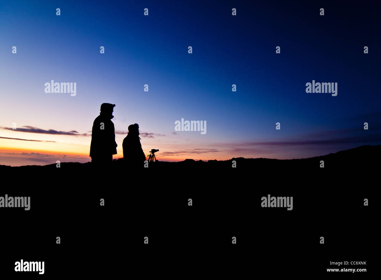 People Silouettes on Sunset, Etna - Stock Image
