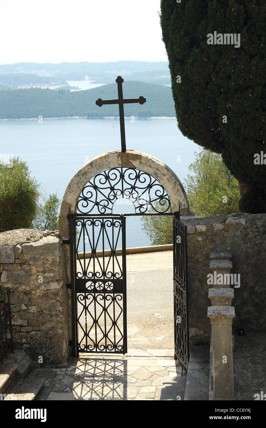 Captains and sailors cemetery near Orebic, Croatia - Stock Image