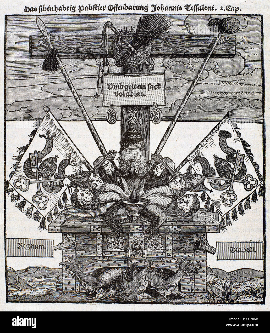 Protestant Reformation. 16th century. Germany. Lutheran satirical print against the sale of indulgences by the papacy. - Stock Image