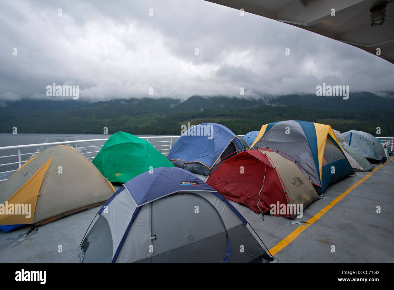 Tents pitched on the deck of the Columbia ferry  Ferry from Stock