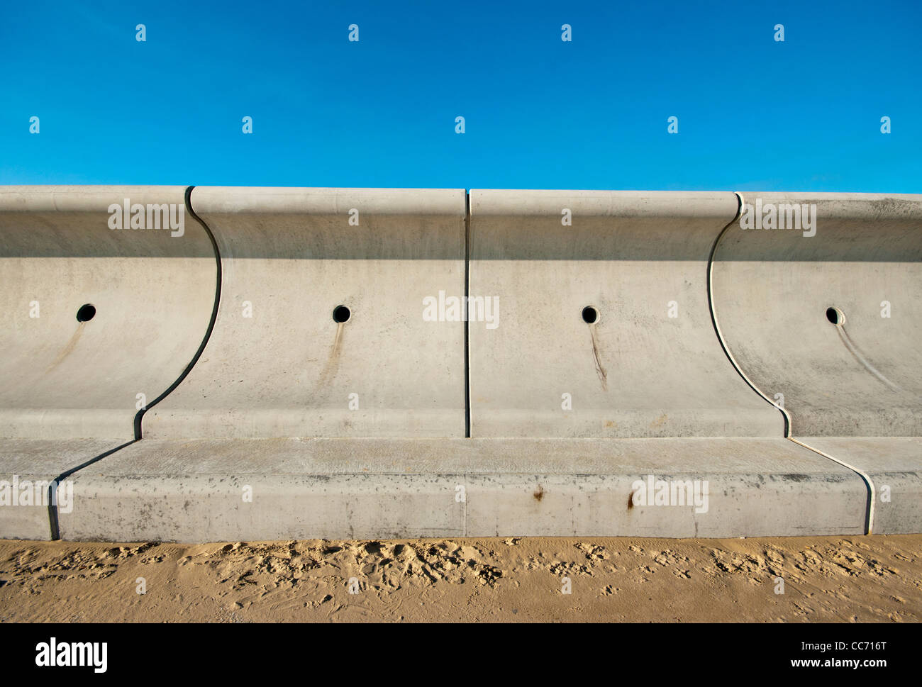 New Sea Wall Flood Defences Dymchurch Kent Uk Modern