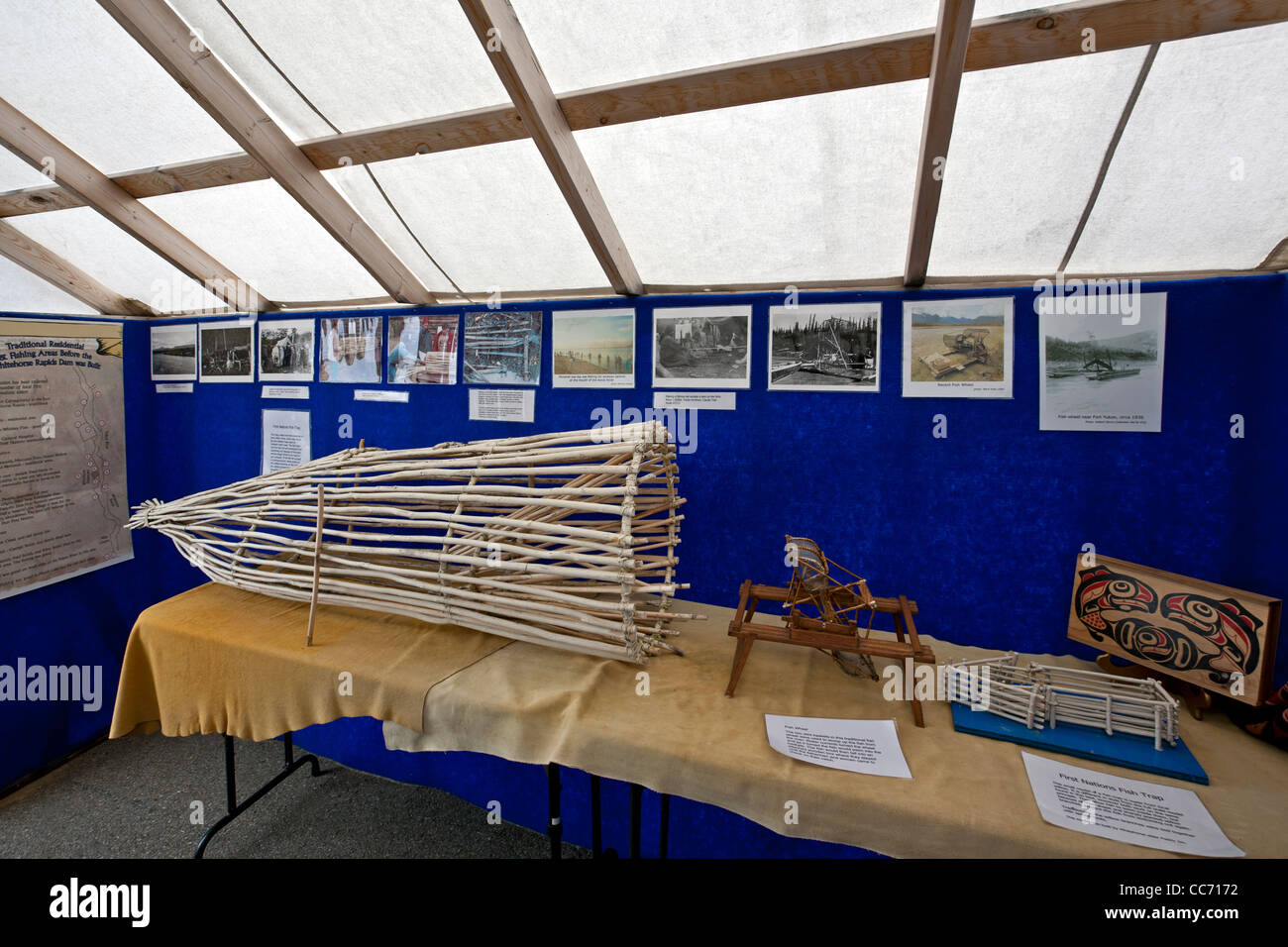 First Nations fish trap. Whitehorse Rapids exhibition. Yukon. Canada - Stock Image