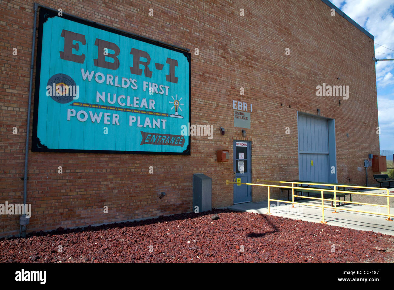 Sign for the EBR-I decommissioned research nuclear reactor atomic museum located in the desert near Arco, Idaho, - Stock Image
