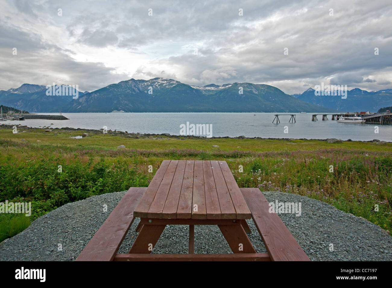 Table and benches overlooking Taiya Inlet. Haines. Alaska. USA - Stock Image