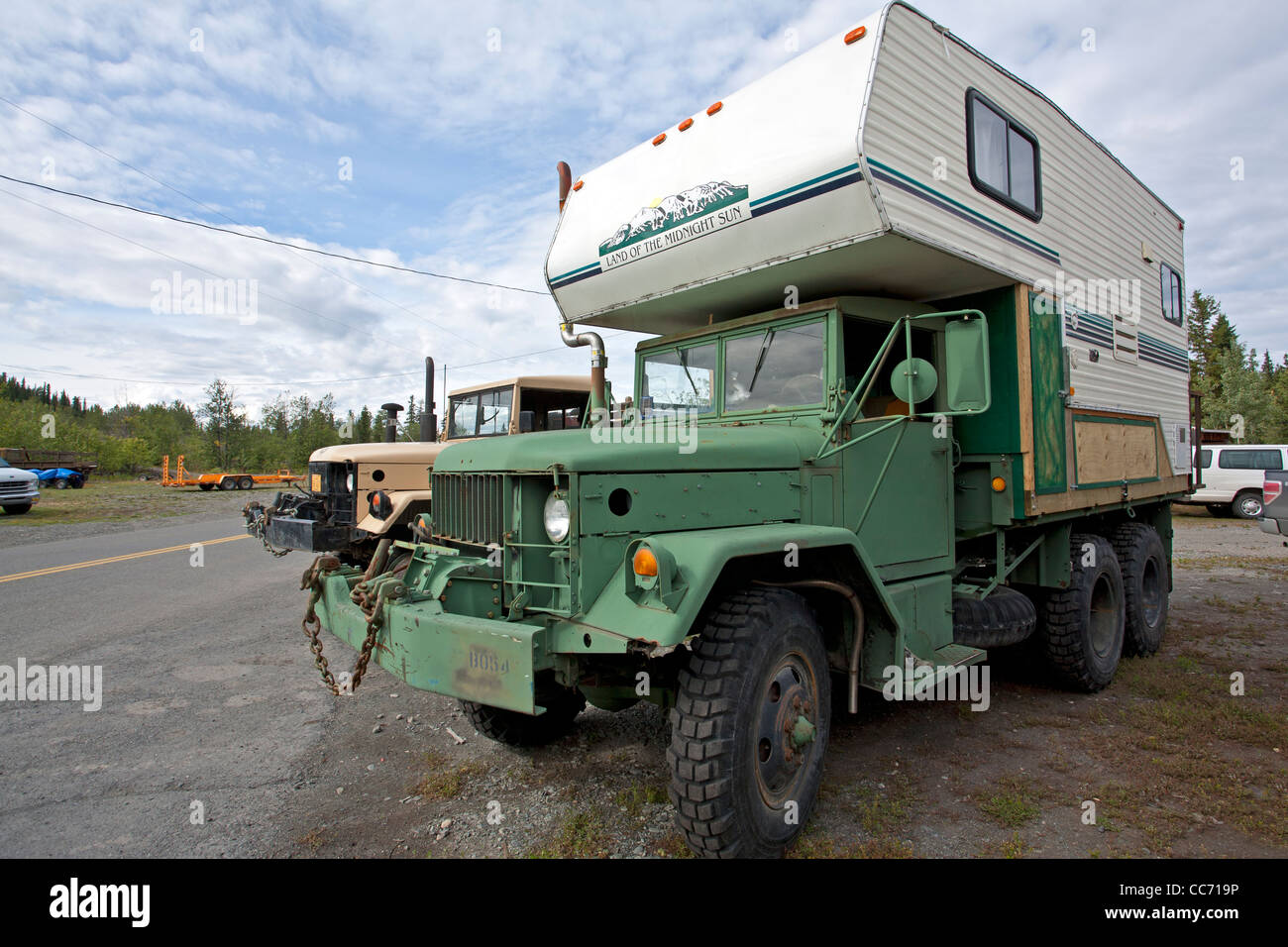 Army Truck Converted To Camper Truck Alaska Usa Stock