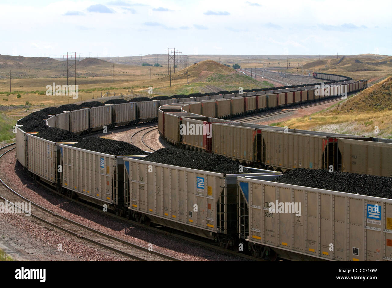 Coal bulk trains in Campbell County, Wyoming, USA. - Stock Image