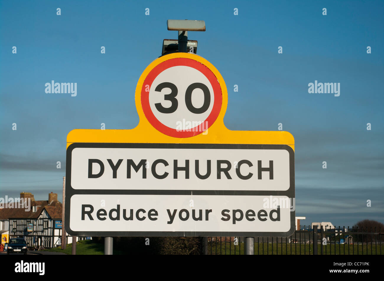 Dymchurch Kent UK coastal seaside Town Towns Sign Signs - Stock Image