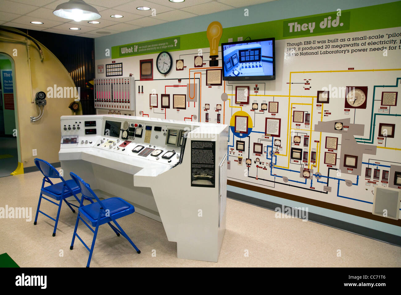 Interior of the EBR-I decommissioned research nuclear reactor atomic museum located in the desert near Arco, Idaho, - Stock Image