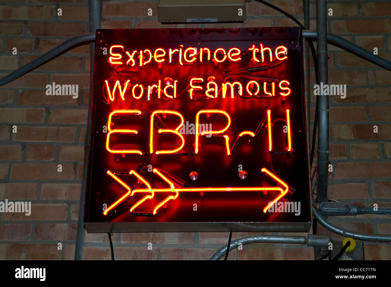 Neon display EBR-II sign at the EBR-I decommissioned research nuclear reactor atomic museum located near Arco, Idaho, - Stock Image