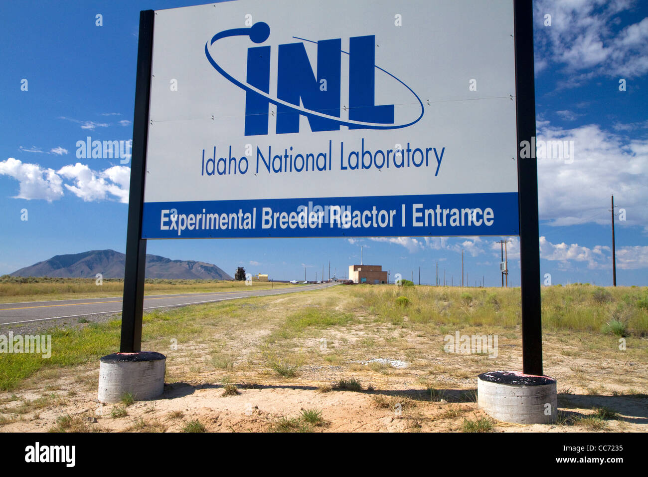 Idaho National Laboratory sign at the EBR-I decommissioned research nuclear reactor atomic museum located near Arco, - Stock Image