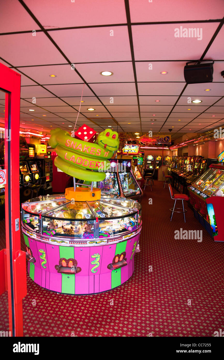 East coast, Mablethorpe, Lincolnshire inside amusements arcade on high street slots and games - Stock Image