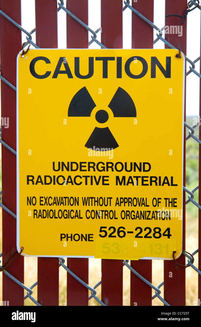 Radiation caution sign at the EBR-I decommissioned research nuclear reactor atomic museum located near Arco, Idaho, - Stock Image