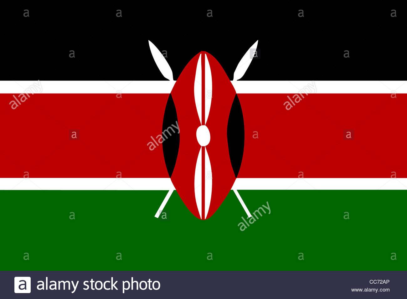 Digital Illustration - flag of Kenya Stock Photo