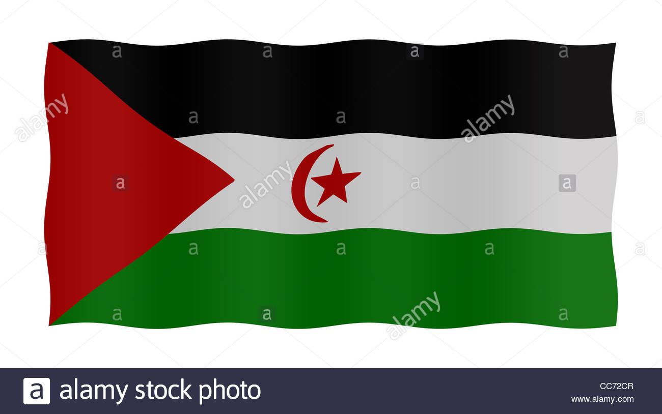 Digital Illustration - flag of Western Sahara - Stock Image