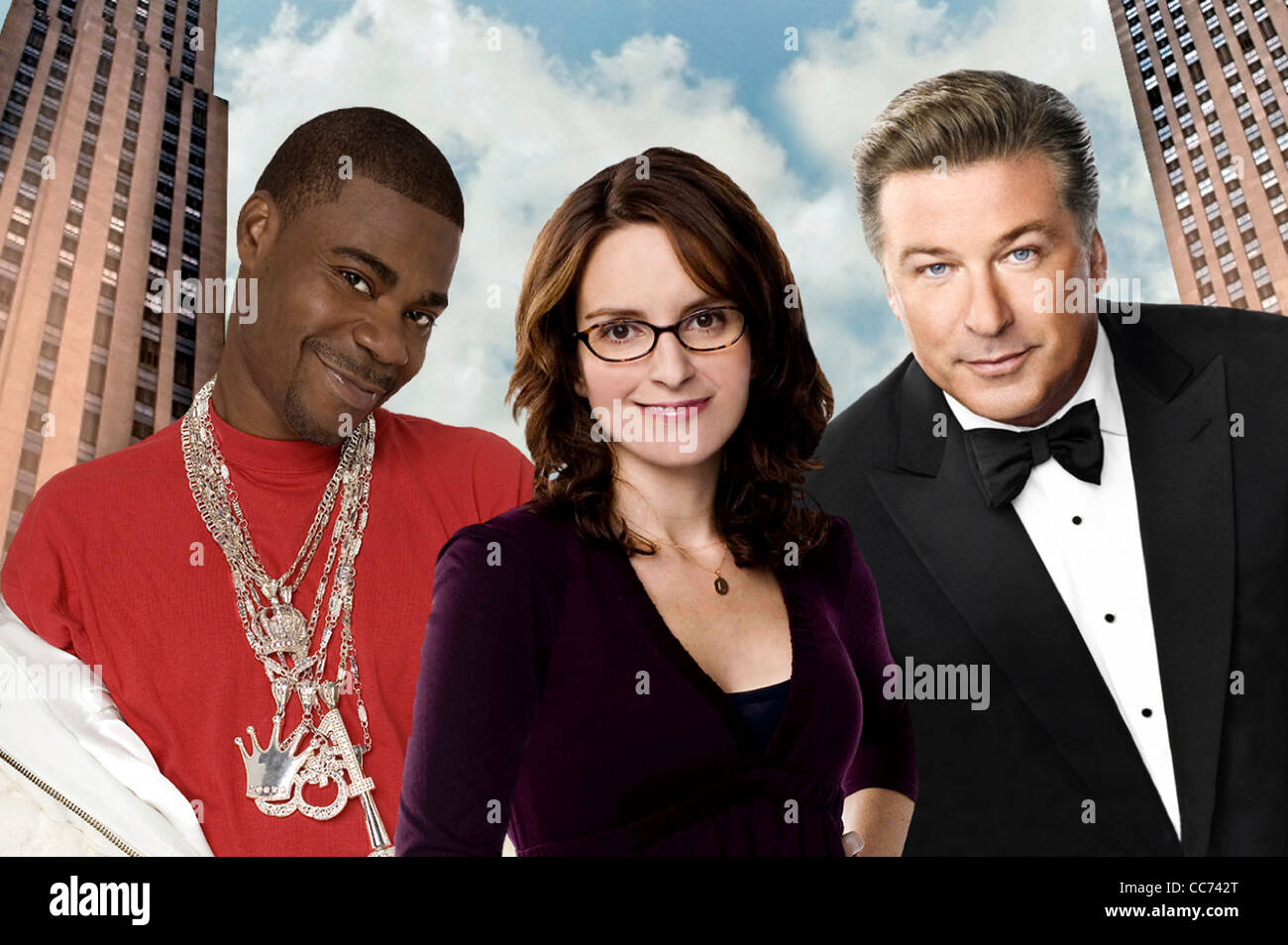 30 ROCK  US Broadway Video series with from left: Tracy Jordan, Tina Fey and Alec Baldwin - Stock Image