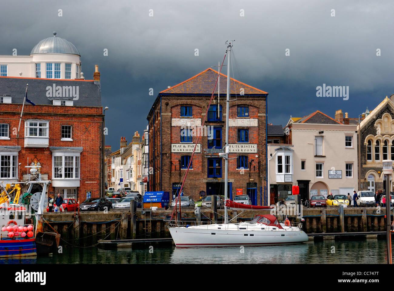 weymouth harbour front dorset england uk - Stock Image