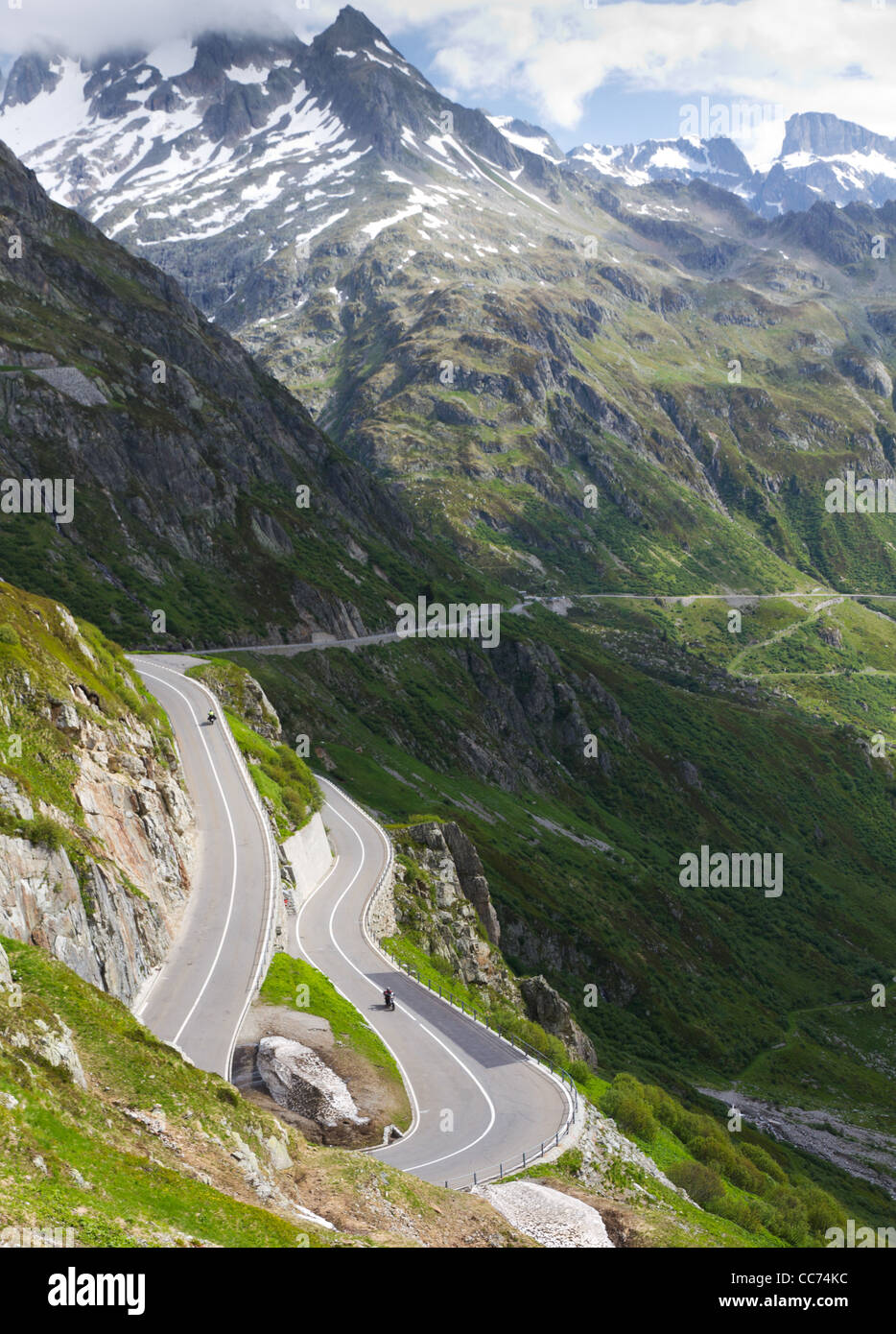 road with tight bends at Susten pass in high alpine Mountains, Switzerland - Stock Image