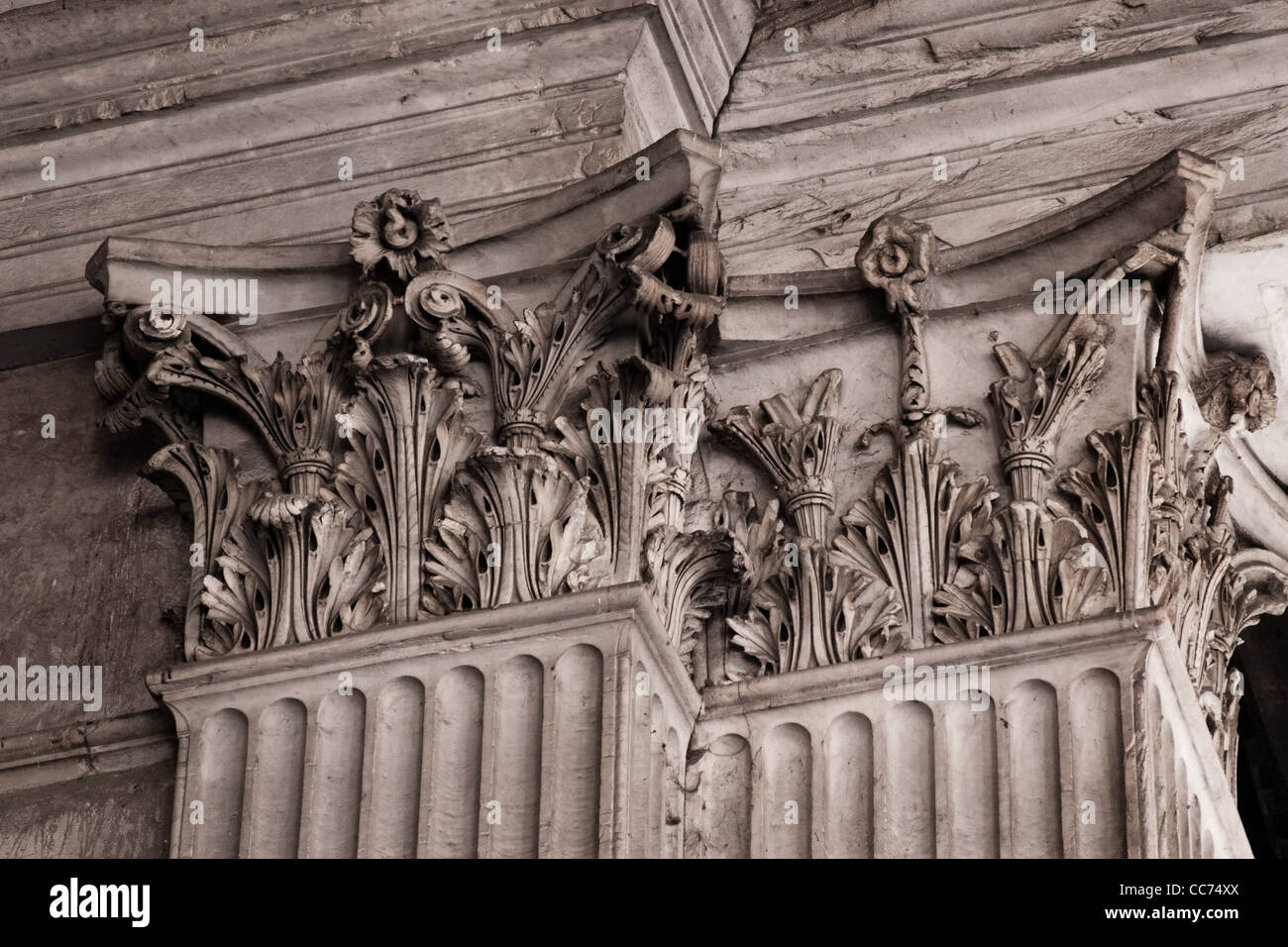 Stone carving detail within The Pantheon,a Roman temple dedicated to all the gods of pagan Rome Stock Photo