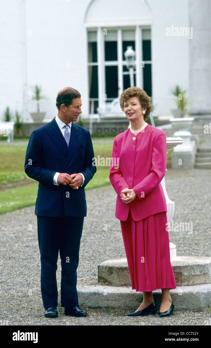 HRH Charles Prince of Wales with Irish President Mary Robinson - Stock Image