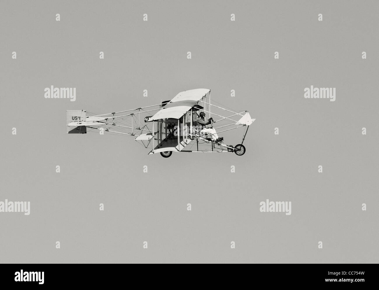 Replica of a 1911 Ely-Curtiss Pusher Model D Biplane, Black and White - Stock Image