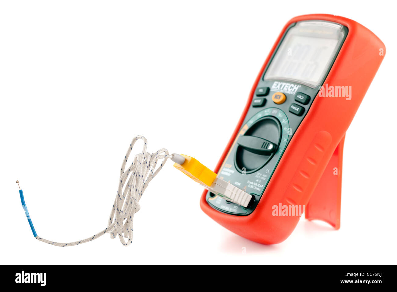 Extech ex330 multimeter measuring temperature in centigrade measuring at 16c - Stock Image