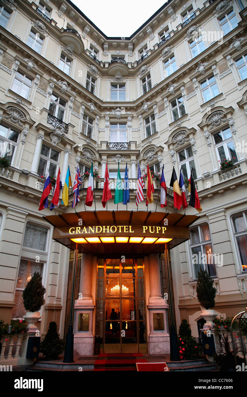 Europe Czech Republic The Entrance Of Grand Hotel Pupp In Karlovy Stock Photo Alamy