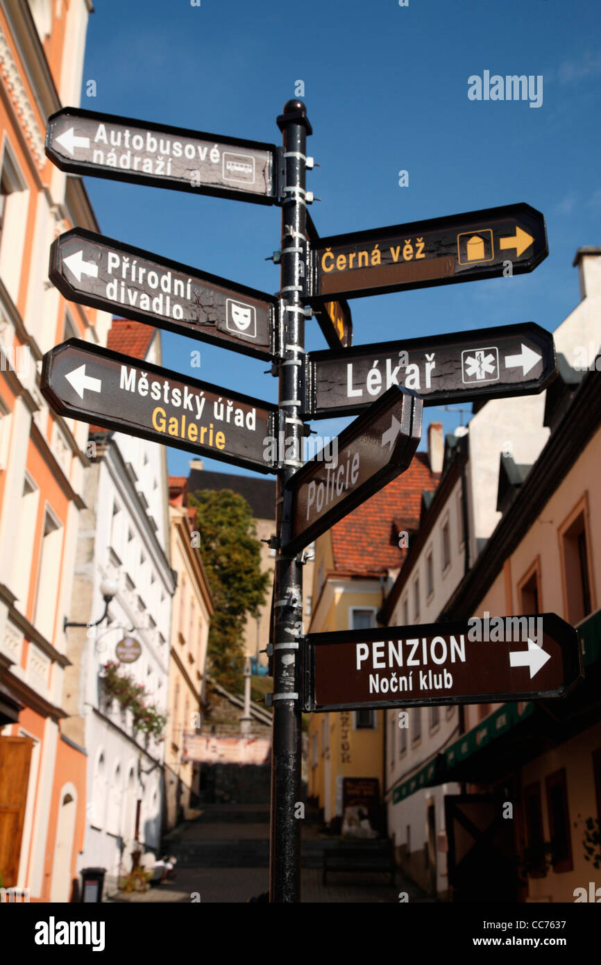 Europe, Czech Republic, West Bohemia, city of Loket. A street sign in old town of Loket - Stock Image