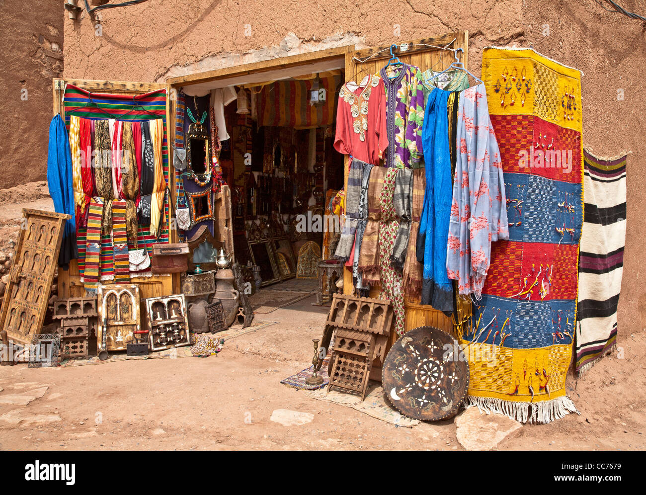 A tourist shop at Ait Bennadhou in Morocco - Stock Image