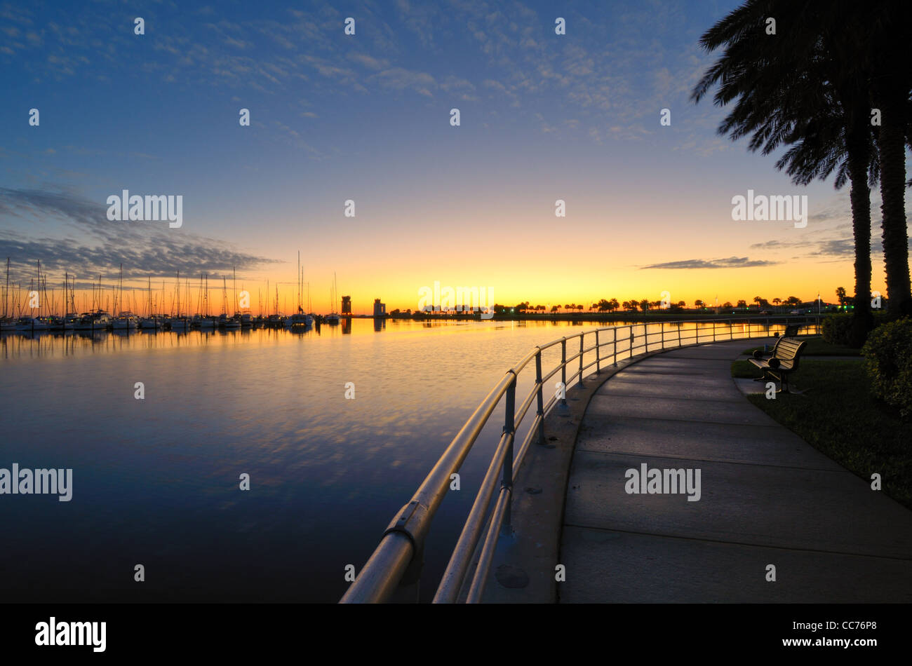 wharf at sunrise in St. Petersburg, Florida - Stock Image