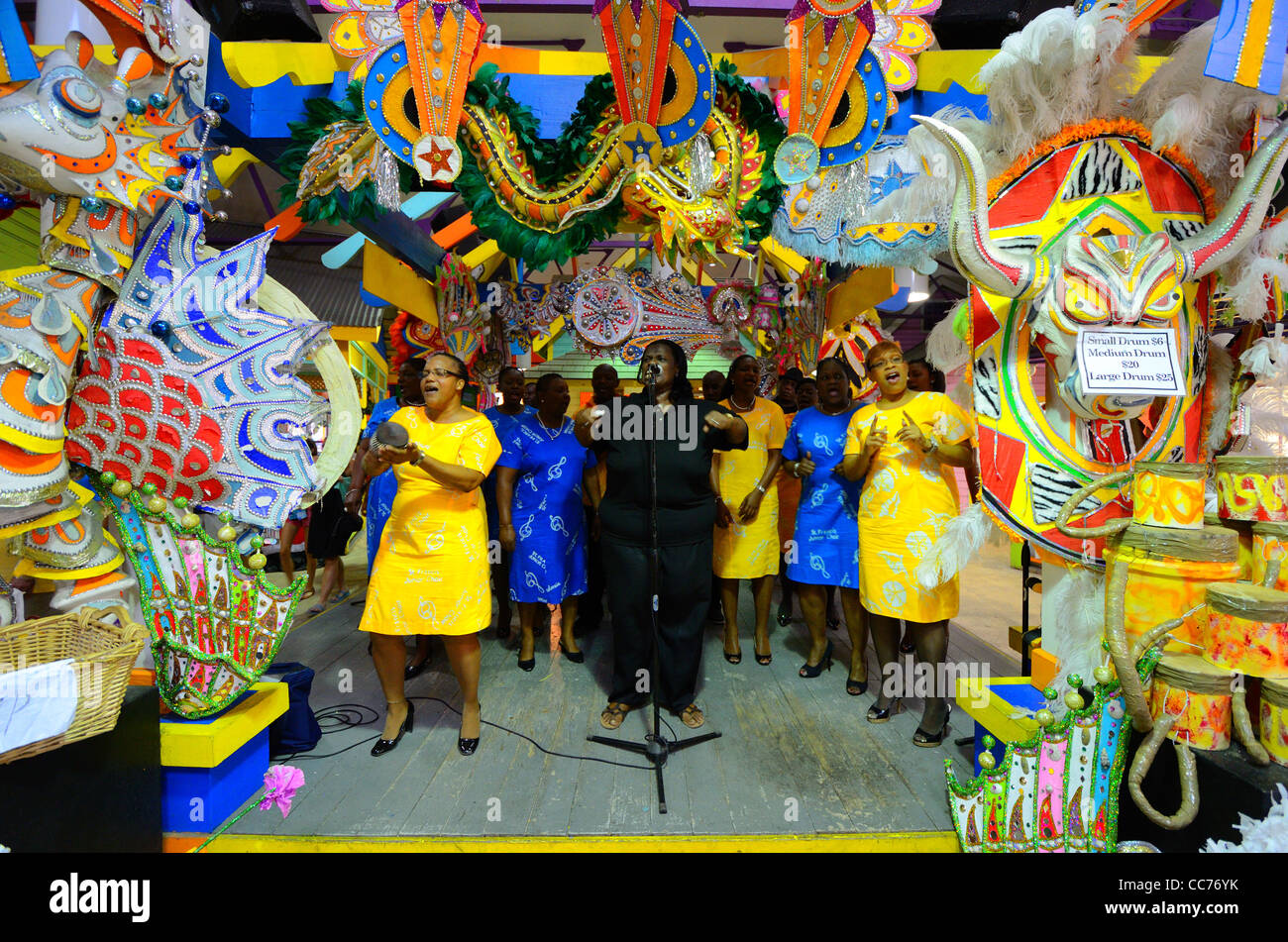 Nassau, Bahamas - January 1, 2012: Gospel singers welcome visitors to the port at Nassau, Bahamas in traditional - Stock Image