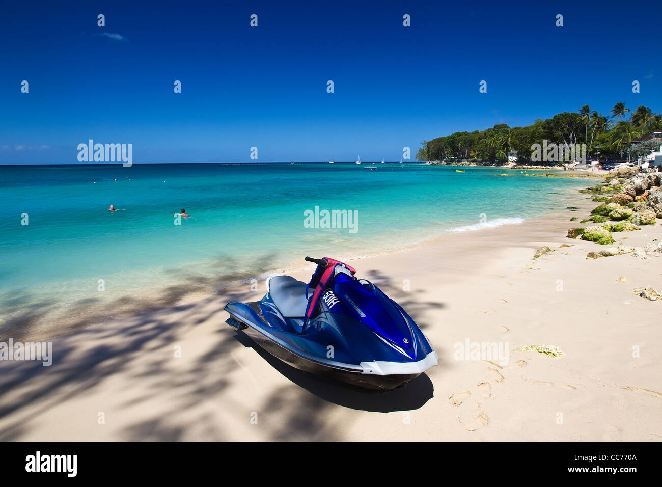 Jet Ski on the beach at the Platinum Coast, St James, West Coast, Barbados,  West Indies - Stock Image