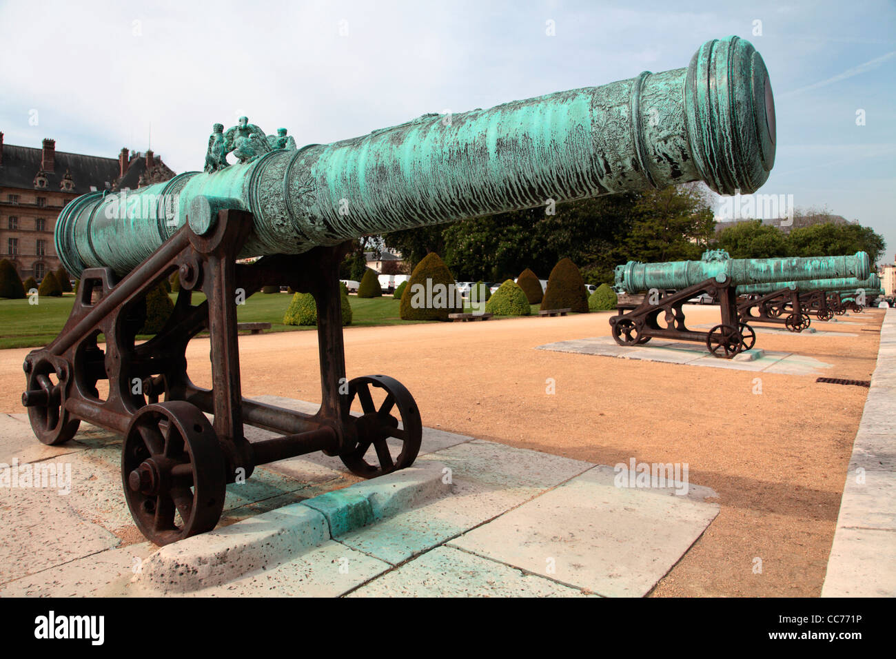 France, Paris, Cannons display in the entrance of Hotel de Invalides - Stock Image