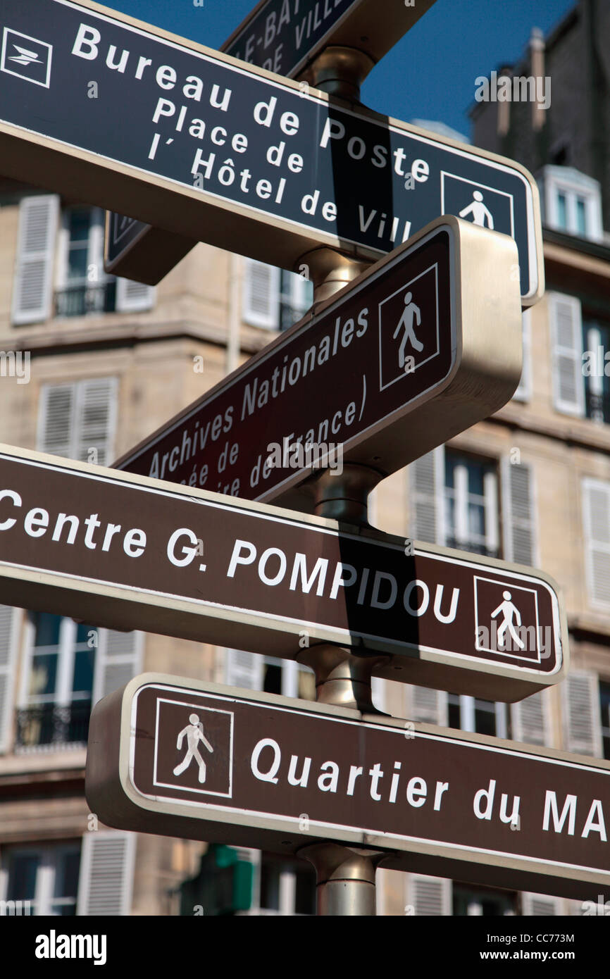 France, Paris, Direction signs on the street - Stock Image